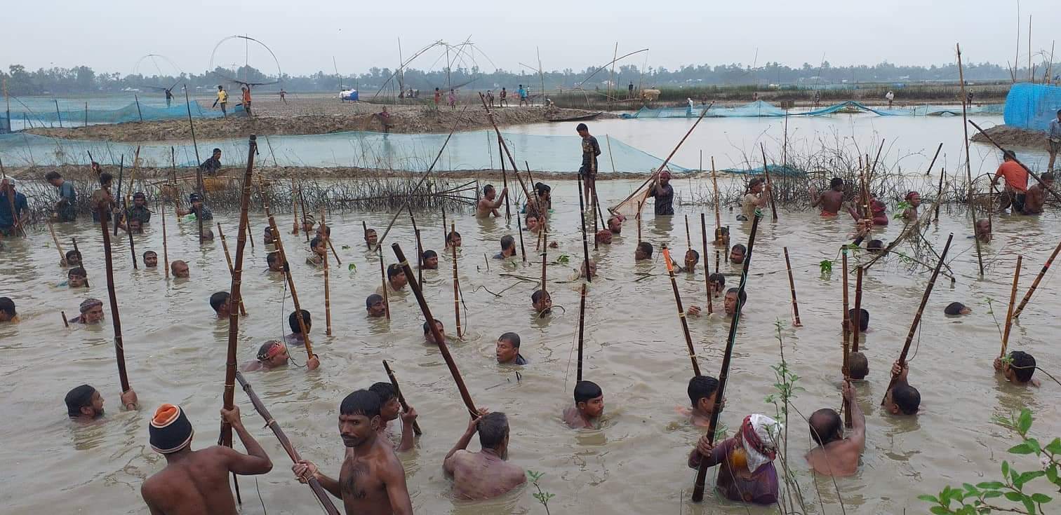 সখীপুরে শাইল-সিন্দুর খালে মাছ ধরা উৎসব