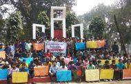 চলমান পরীক্ষা স্থগিতের প্রতিবাদে সরকারি সা'দত কলেজে মানববন্ধন